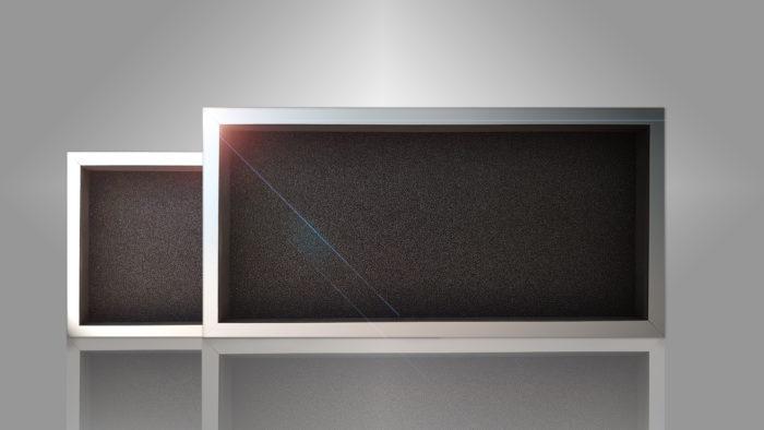 Två varianter av färdiga filter monterade i ram.